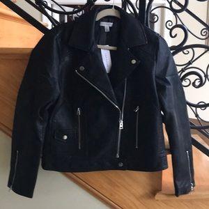 Topshop Jacket Size 8 Black Leather Like NWT